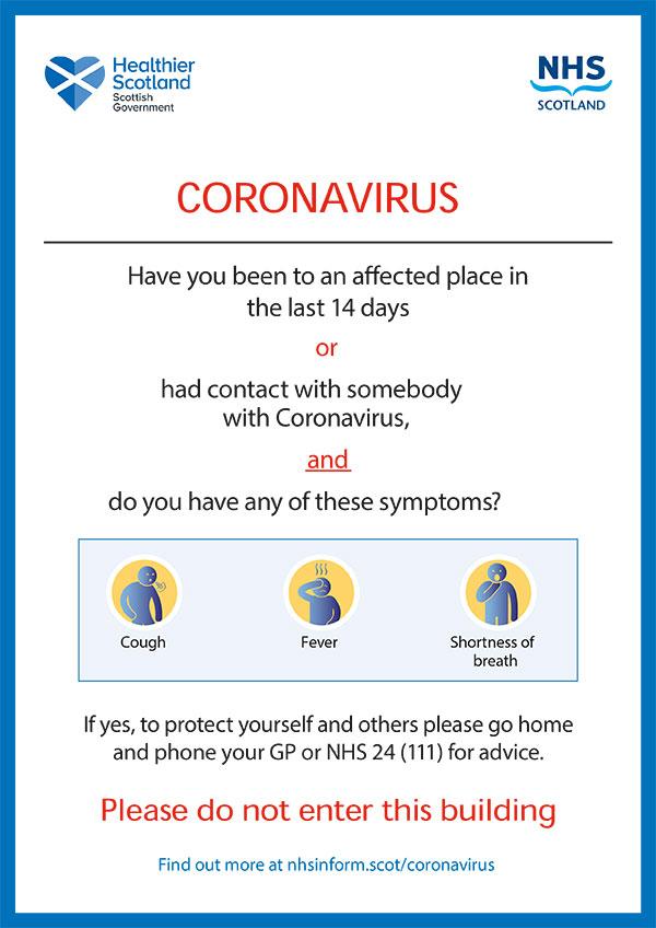 Coronavirus Poster Building Entrance